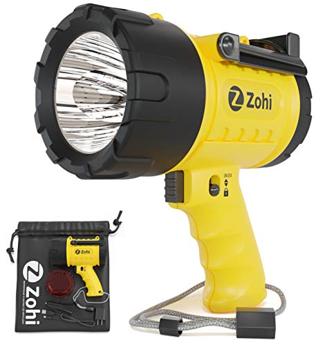 ZOHI 15L LED Super Bright Flashlight-Waterproof Rechargeable Spotlight, USB Output Phone Charger, Submersible Searchlight, Boat Spot Light, LED Spotlight Torch, 1500Lumen Handheld Powerful Flashlights