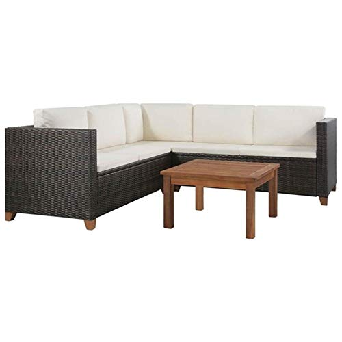 Nodic Style - Juego de 4 muebles de jardín con sofá fijo y mesa baja de ratán marrón y exterior