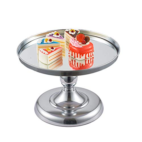 AORISSE Cake Stand, Round Metal Mirror Top Cake Plates Round Cake Stand Cupcake Dessert Display Tray Metal for Wedding Reception Birthday Party,Silver,Middle