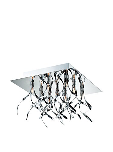 "Lite Source LS-5735 Ferill 9 Flush Mount Light Frame and Artfully Curved Metal Accent, Chrome Finish, 7"" x 11.75"" x 11.75"""