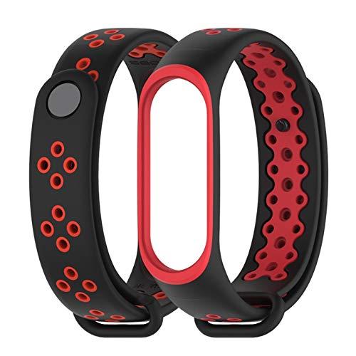 Para mi banda MI 3 4 correas pulsera pulsera WAC Smart Silicone Strap *21798 (Color : Black Red, Size : For mi band 3)