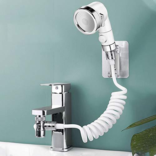 Schlagfrei Duschkopf Set Extern für Waschbecken,2m Teleskoprohr Duschkopf mit Drei Modi,Perfekt zum Waschen der Haare oder zum Reinigen des Waschbeckens Putze die Toilette(Kein Wasserhahn)