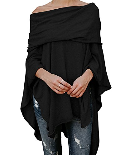 DEMO tuniekop voor dames, off-shoulder, vleermuis, mouwen, onregelmatige poncho blouse tuniek