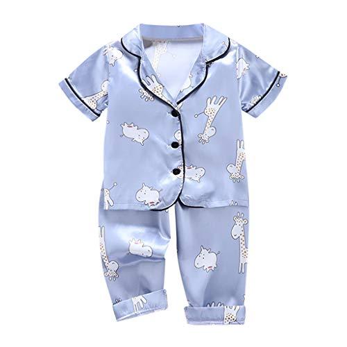 Julhold Bebé Pijama Fondos de Manga Corta Trajes de Bebé Niño Niña Manga Corta de dibujos animados Tops+Pantalones Conjuntos de Ropa