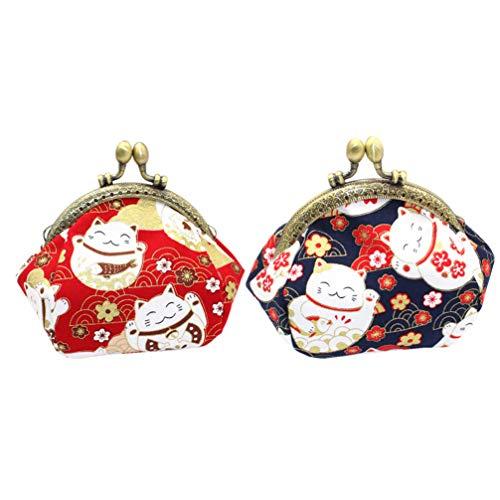 KESYOO 2 Unidades Bolsa de Moedas para Gato da Sorte Mini Carteira Bolsa Com Bloqueio de Beijo Bolsa de Troca para Mini Carteira Vintage Presente de Natal