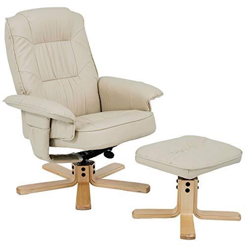IDIMEX Relaxsessel mit Hocker Charly, Fernsehsessel, Drehsessel, Polstersessel, Sessel in beige Creme weiß