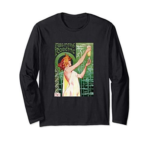 Absinth Robette Mucha Jugendstil Französisches Werbeplakat Langarmshirt