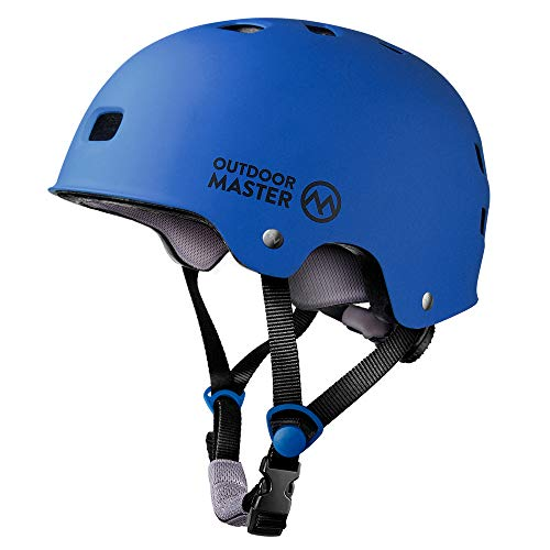 OutdoorMaster Skateboard Cycling Helmet - ASTM & CPSC Certified Two Removable Liners Ventilation Multi-sport Scooter Roller Skate Inline Skating Rollerblading for Kids, Youth & Adults - S - Deep Blue