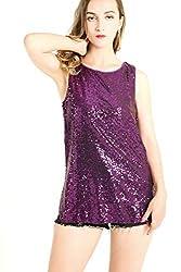 Purple Sleeveless Camisole Vest Sequin Tank Tops