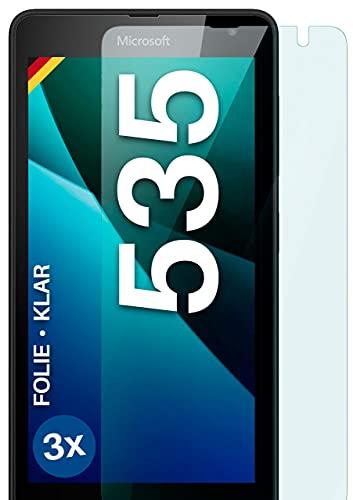 moex Klare Schutzfolie kompatibel mit Microsoft Lumia 535 - Bildschirmfolie kristallklar, HD Bildschirmschutz, dünne Kratzfeste Folie, 3X Stück