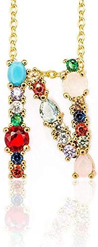 ZPPYMXGZ Co.,ltd Collar de Moda con Colgante de Color Dorado Collar de circonita AZ 26 Letras Nombre de Personalidad Accesorios de joyería para Mujeres y Regalo de Novia