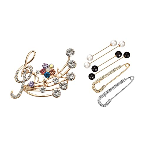 Sonline Music Brooch Elegant Style with Rhinestones Treble Clef Pin Brooches with 6 Pieces Sweater Shawl Clips Set