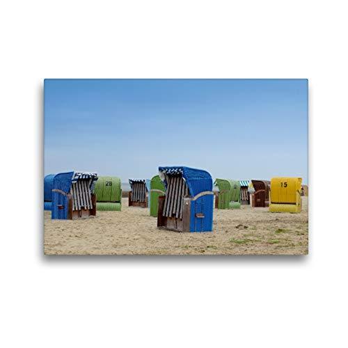 Premium Textil-Leinwand 45 x 30 cm Quer-Format Strandkörbe in Dangast | Wandbild, HD-Bild auf Keilrahmen, Fertigbild auf hochwertigem Vlies, Leinwanddruck von Christian Lindau