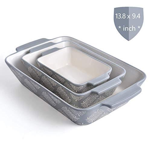 KINGSBULL HOME Bakeware 3pcs Baking Set Baking Pans Ceramic Baking Dish Grey Lasagna Pan Stoneware Casserole Dish