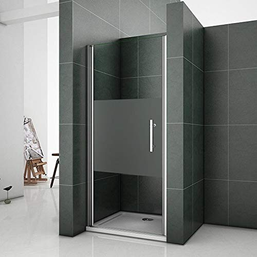 Aica 90x185cm porta doccia per nicchia porta apertura a battente verso esterno cristallo temperato trasparente anticalcare