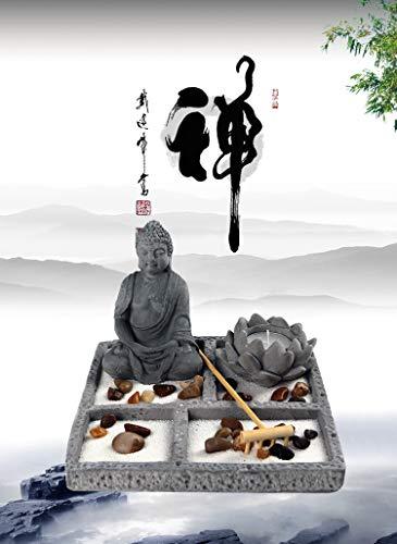 OM HOME Jardin Zen Figura Buda en Bandeja Cuadrada,con portavela en Forma de Flor de Loto, Roca y Arena decoración con Embalaje Mejorado