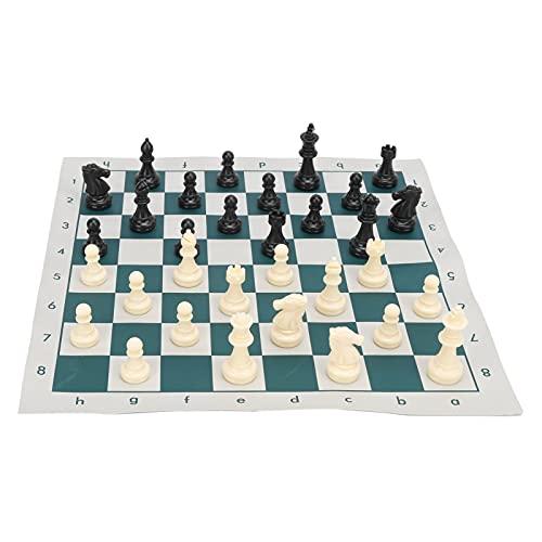 Roll-Up Schachbrett International Standard Chess mit 32 Schachfiguren und Schachbretttasche 34cmx34cm