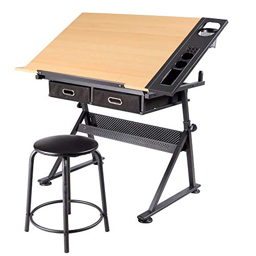 """40"""" 250Lbs Heavy Duty & Adjustable Height Drafting Table Desk Drawing Table Desk with P2 Tiltable Tabletop, Stool and 2 Storage Drawers for Reading, Writing, Studying Art Craft Work Station"""