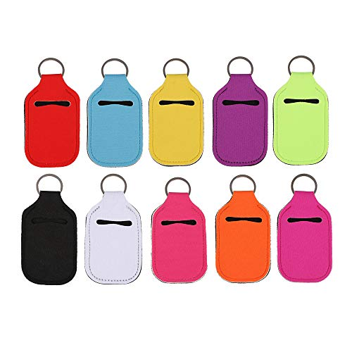 MOODCOME 10 Pieces Portable Hand Sanitizer Holder Keychain Neoprene Lipstick Tubes Cover Travel Size Bottles Containers Carrier for Toiletry Soap Lotion Liquids