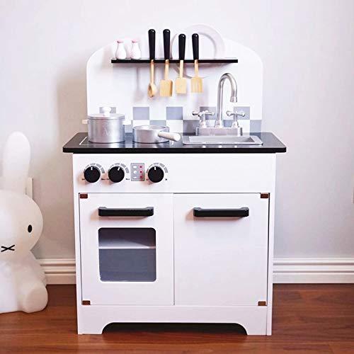Luxuriöser Holzherd Pretend Toy Kids Holzküche mit Kochgeschirr für Kinder Kochen Lernspielzeug Geschenk Gehirnspiel, 1 Satz