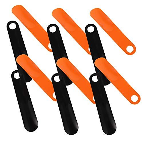 HEALLILY 6Pcs Kunststoff Schuhlöffel Langstieligen Schuh Horn mit Hängen Loch Grip Schuh Hebe Werkzeug für Männer Alte Menschen Schwangere Frauen Orange Schwarz