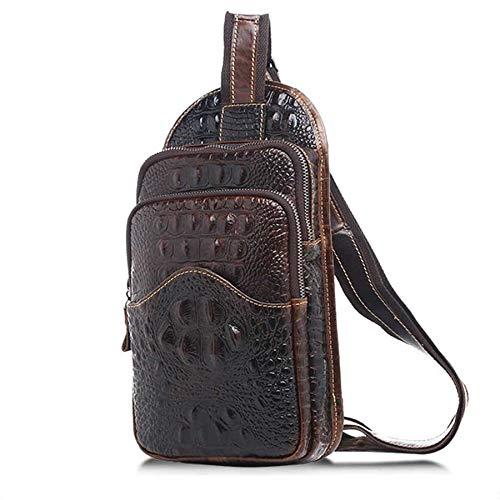Cuero Genuino Crossbody Sling Bag Cocodrilo Grabado en Relieve Pecho Bolsa de Hombro Impermeable