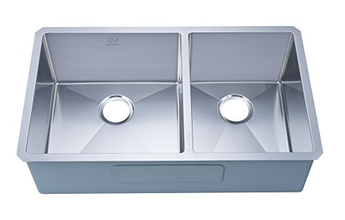 """Stufurhome NW-3319D Under Mount Stainless Steel Double Bowl Kitchen Sink, 33"""", Satin"""
