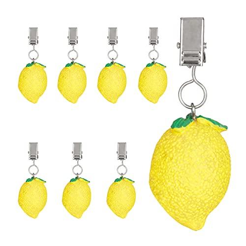 Relaxdays Tischdeckenbeschwerer Zitrone, 8er Set, Polyresin, Tischtuchbeschwerer draußen und drinnen, Tischgewichte, gelb