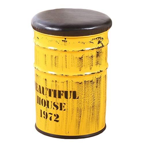 MYS-Bar stool C-K-P Taburete Hogar Hierro Arte Ronda Pintura Cubo Memoria Diseño Huelga Sofá Taburete, Stock 100KG, 3 Colores (Color : Amarillo)