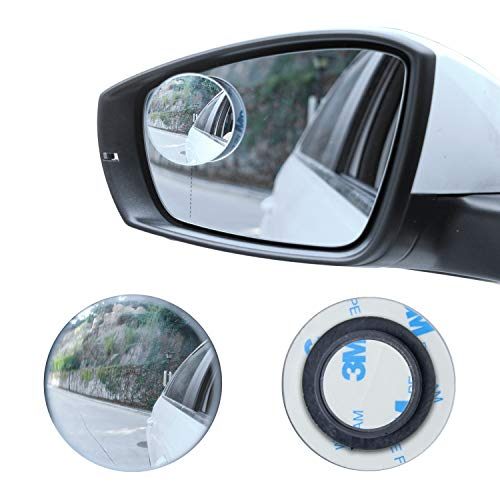 LivTee Blind Spot Mirror, 2 Round HD Glass Frameless Convex Rear View Mirror with wide angle Adjustable Stick for Cars SUV and Trucks, Pack of 2