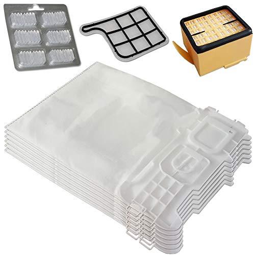 Set di 6 sacchetti per aspirapolvere in microfibra + 6 profumi + Filtro HEPA + filtro di protezione del motore adatto per Folletto Vorwerk Kobold 135, 136, 135 SC, VK 135, VK 136, VK135, VK136