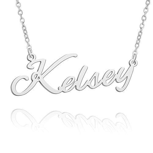 BUREI Collar con Nombre, Grande, Inicial, Plata, Mejor Amiga, joyería, Mujeres, Regalos para Ella, Kelsey