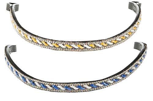 netproshop Leder Stirnriemen mit Strasssteinchen für Trense, blau oder gelb, Farbe:Blau