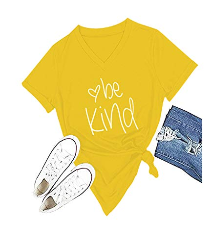 Be Kind T Shirts Women Cute Graphic Blessed Shirt Funny Inspirational Teacher Fall Tees Tops (XL, Yellow)