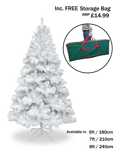 Snowtime 7FT COLORADO SPRUCE WHITE CHRISTMAS TREE WITH 765 TIPS INC FREE STORAGE BAG WORTH £14.99!! CT06363