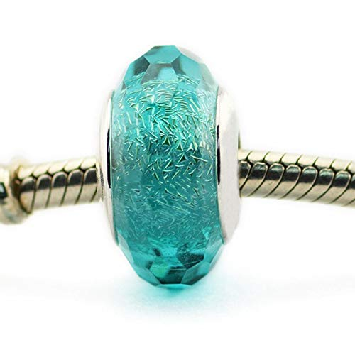 Pandora 925 pulsera de la joyería natural se adapta a verde azulado Shi Er Murano cristal encanto granos de plata esterlina para las mujeres Berloques regalo