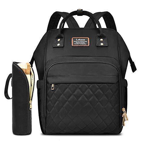 CoolBELL Baby Diaper Bag Backpack Water-Resistant Multi-Functional Wide Opening Nappy Bag Include Pad/Insulated Pouch for Travel/Baby Care/Mom (Diamod Black)