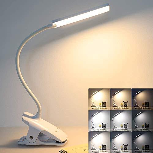 Leselampe Buch Klemme, 24 LED Buch Klemmleuchte, USB Wiederaufladbare Klemmlampe, 3 Farbtemperatur und 3 Helligkeitsstufen Schreibtischlampe Flexibel Tischlampe für Büro, Buch, Bett