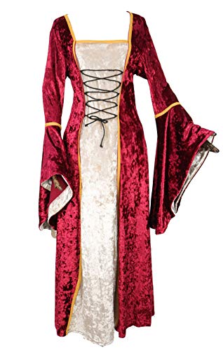 Womens Renaissance Medieval Costume Irish Lace Up Dress Game of Thrones Style Cosplay Over Long Dresses (Medium, Red)