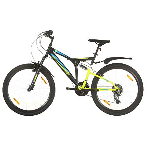 Festnight Mountain Bike, Bici Mountain Bike, Mountain Bike Uomo/Donna, Mountain Bike Adulto 21 Speed 26' Ruote 49 cm Nero