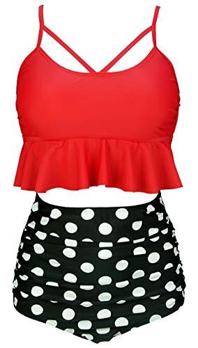 COCOSHIP Red & Black White Polka Dots Vintage Falbala High Waist Bikini Set Crisscross Hollow Out Swimsuit Cruise Swimwear XXXL