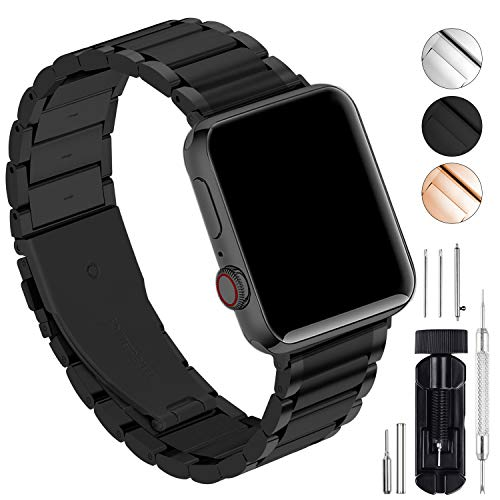 GerbGorb Cinturino Compatibile per Apple Watch, Cinturino in Acciaio Inossidabile per iWatch Serie 5/4/3/2/1, Watch band per iWatch,44mm Nero+ Hardware Nero