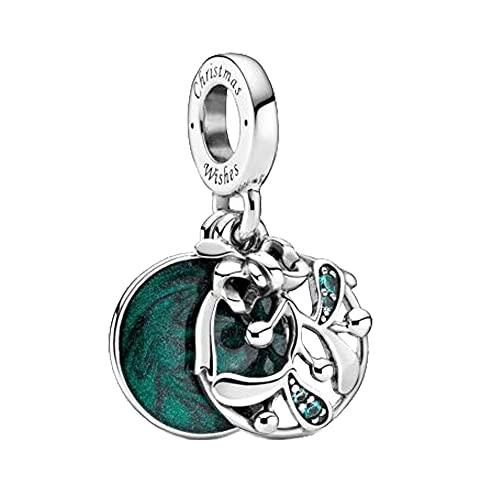 Pandora 925 colgante de plata esterlina Diy nuevas cuentas de muérdago de Navidad cuelga el encanto a juego pulsera original adornos de Navidad