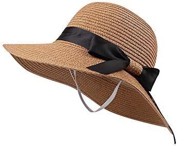 Zsedrut Girl Straw Sun Hat Summer Beach Cap Foldable Visor Floppy Hats Wide Brim with Strap product image