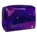 Bolsa de maquillaje de PVC con cremallera, bolsa de aseo impermeable para cosméticos con espacio ultravioleta galáctico galáctico para mujeres y niñas