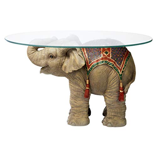 Design Toscano Jaipur Elephant Festival Indian Decor Coffee Table with Glass Top, 30 Inch,...