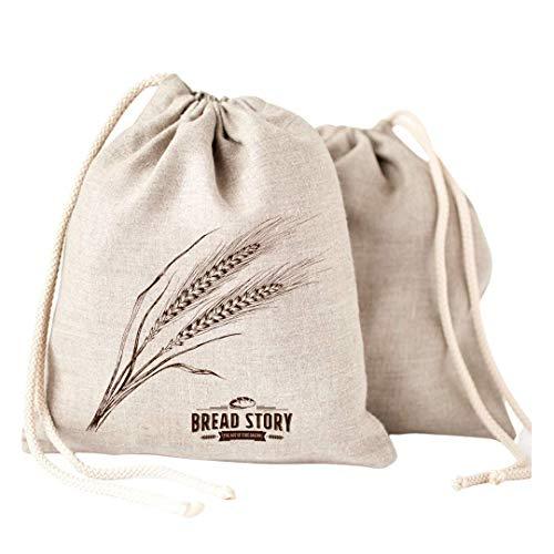 Leinen Brot Taschen - 2er Pack 30x40cm ideal für selbstgebackenes Brot, ungebleicht, wiederverwendbar zur Aufbewahrung von Lebensmitteln, Einzugs, Speicher für Handwerker Brot -Bakery & Baguette