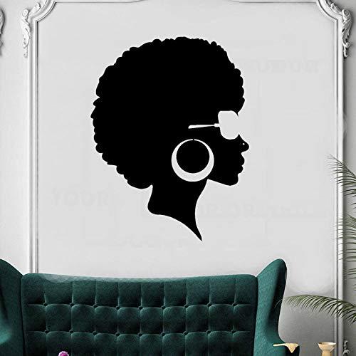 Preisvergleich Produktbild zqyjhkou Afro Frisur Schwarze Dame Schönheitssalon Aufkleber Schönes Gesicht Frau Vinyl Wandtattoo Abnehmbare Friseursalon Friseur Muralzw234 42x54cm