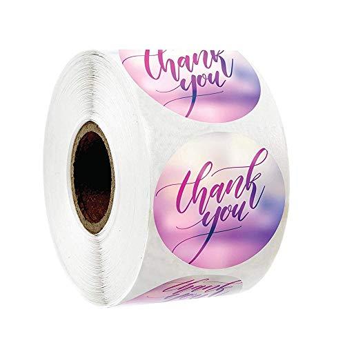 PMSMT 50-500 Uds, Pegatinas Redondas de Color Rosa para Negocios, Pegatinas de Papel Bonitas, Pegatinas de Agradecimiento para Hornear, Etiquetas de Sellado, Pegatinas de papelería
