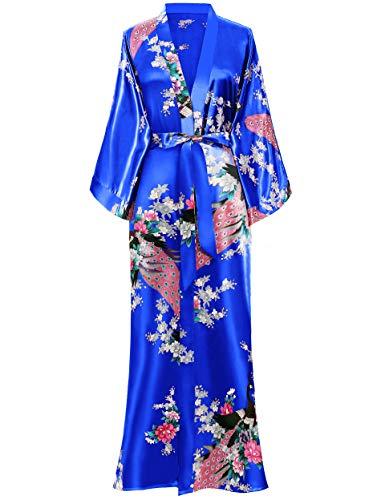 BABEYOND Damen Morgenmantel Maxi Lang Seide Satin Kimono Kleid Pfau Muster Kimono Bademantel Damen Lange Robe Schlafmantel Girl Pajama Party 135cm Lang (Königsblau)